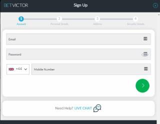 Sign up steps at BetVictor